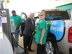 Phillip Wiedmeyer Fueling the Chevy with E85 at Grand Opening